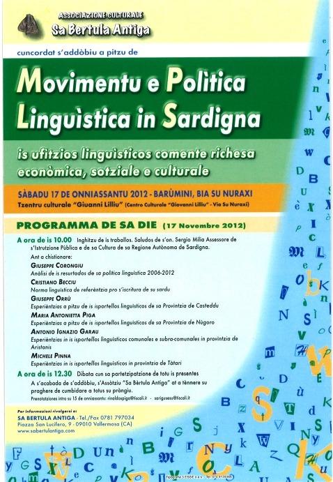 Barùmini: Movimentu  e Polìtica Linguìstica in Sardigna.