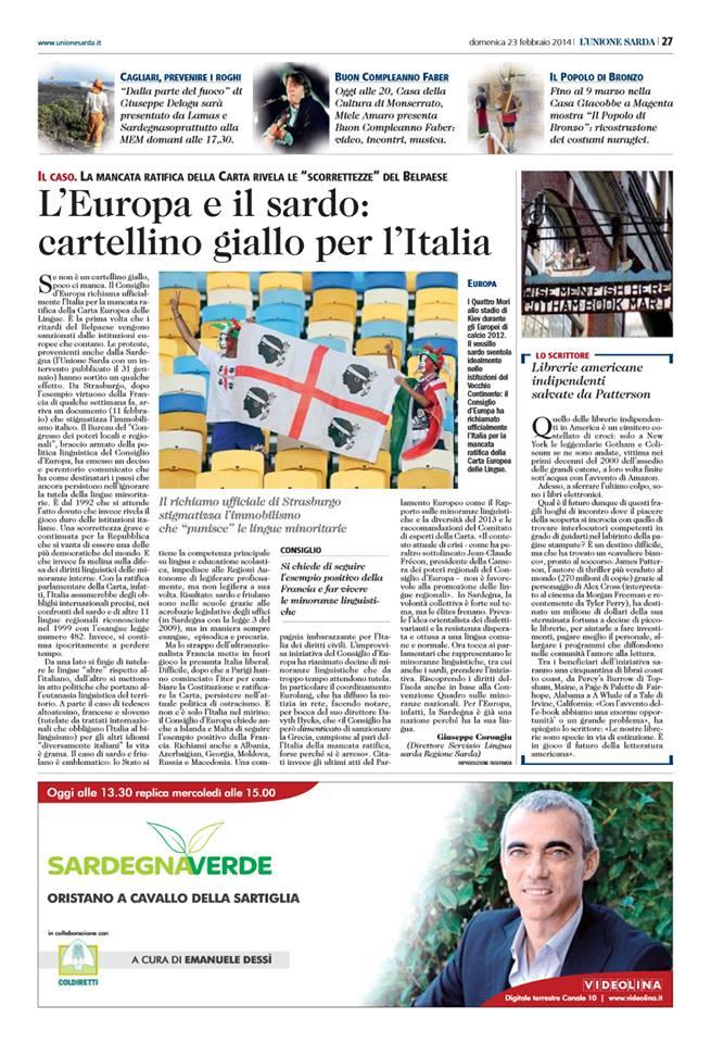 L'Europa richiama l'Italia su mancata ratifica Carta Europea – Unione Sarda del 23/2/2014