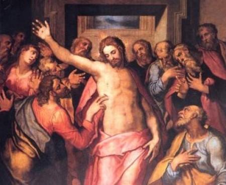 Gesùs risortu cun sos discìpilos
