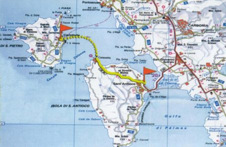 Mapa ìsulas de Santu Pedru e Sant Antiogu