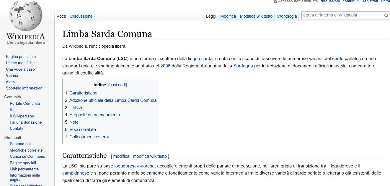 Limba sarda comuna in Wikipedia