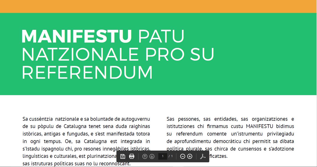 Aderi inoghe a su Patu de su Referendum pro sa Catalugna indipendente